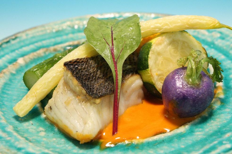 鱸(すずき)と旬野菜のオイル焼き